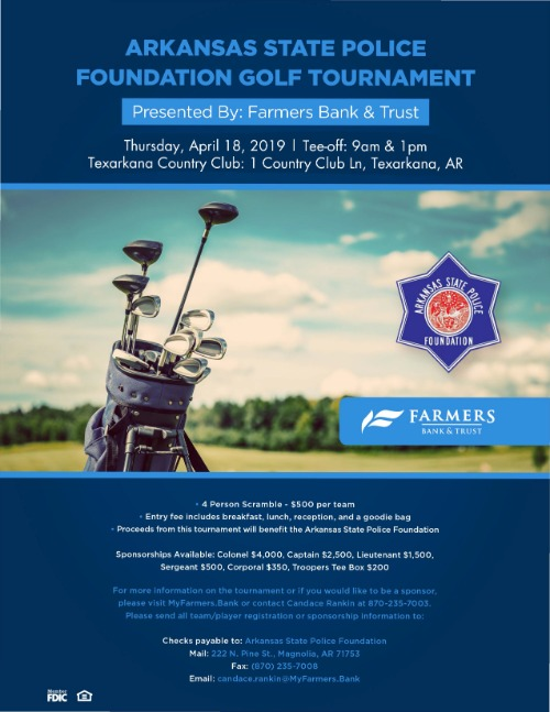 Arkansas State Police Foundation Golf Tournament presented by Farmers Bank & Trust Poster