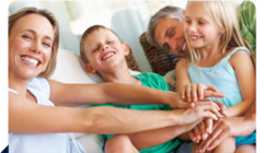 Parents and children smiling - linking to Active Family page